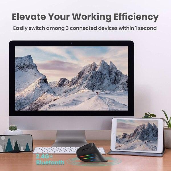 【亚马逊禁售】可充电符合人体工程学鼠标垂直无线蓝牙鼠标,用于笔记本电脑,平板电脑,PC,Mac,Windows 7/8/10,Android