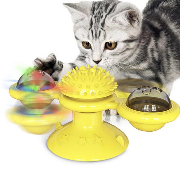 转转风车猫玩具-黄色