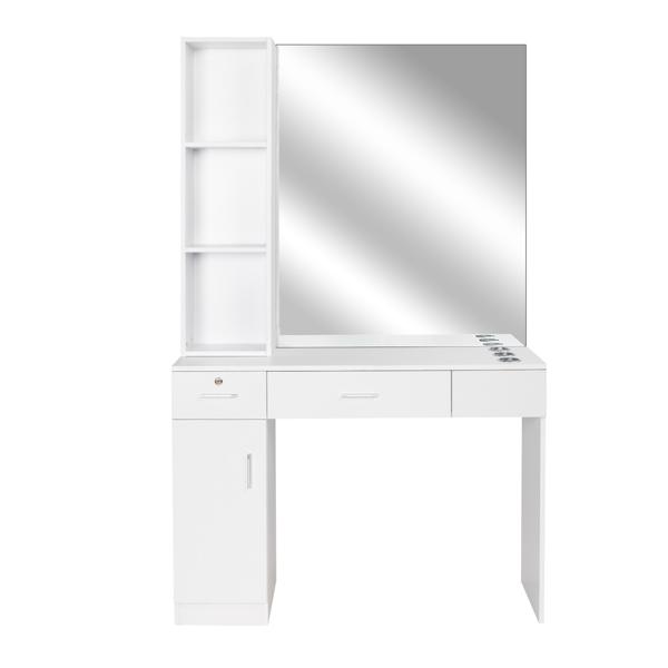 2-2 15厘E0刨花板麻面 1门2抽3层架带腿美发柜带锁带镜子 沙龙柜 N001 白色