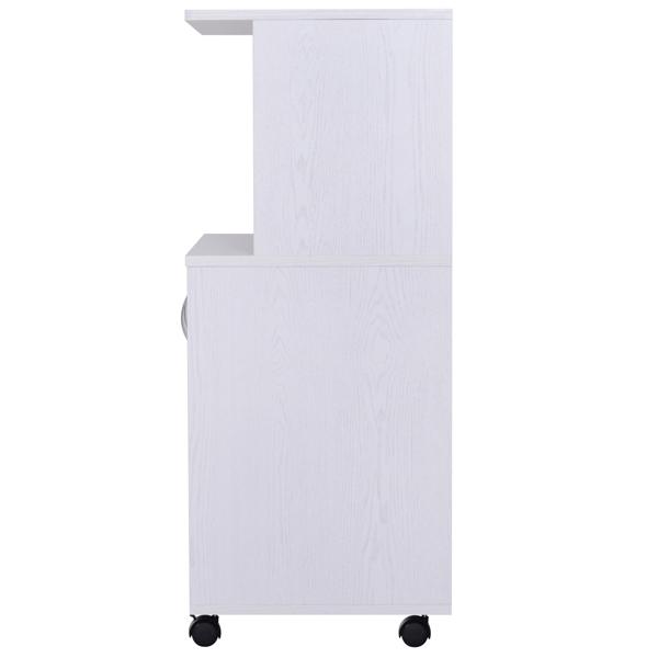 独立式厨房自助餐厨柜有轮子,带 2 个门、1 个开放式搁板