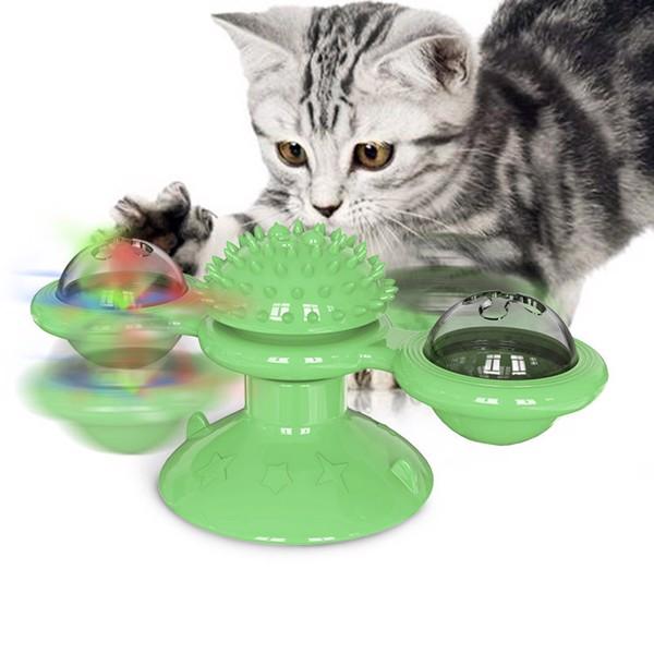 转转风车猫玩具-绿色