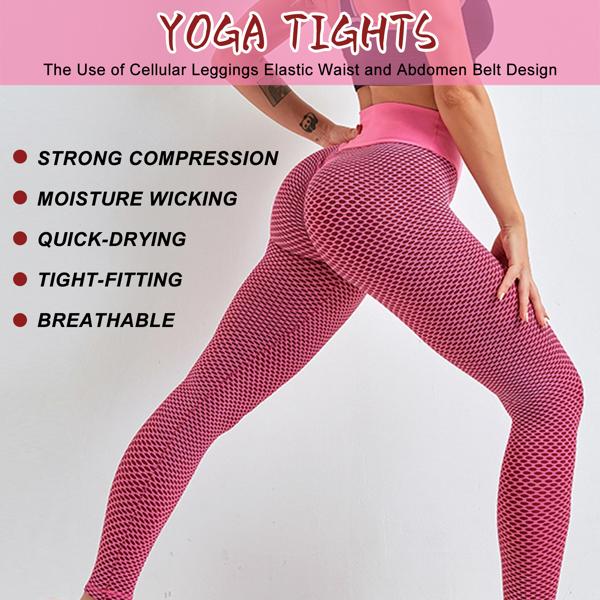tiktok抖音女士紧身裤提臀高腰运动瑜伽裤粉色XXL码