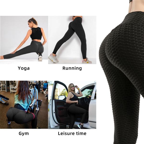 tiktok抖音女士紧身裤泡泡裤提臀运动锻炼高腰瑜伽裤黑色3X-Large