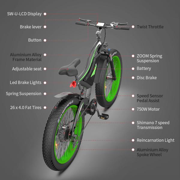 AOSTIRMOTOR 电动自行车26x4.0胖轮胎 750W电机48V15Ah可拆卸锂电池零售限价$1699