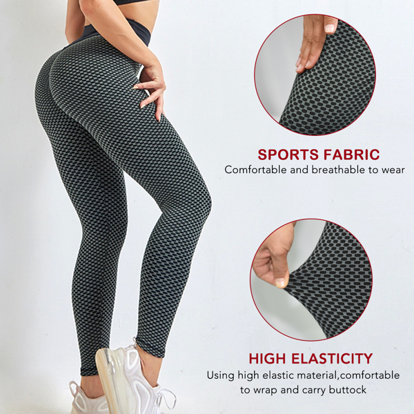 tiktok抖音女士紧身裤提臀高腰瑜伽运动裤深灰色XL码