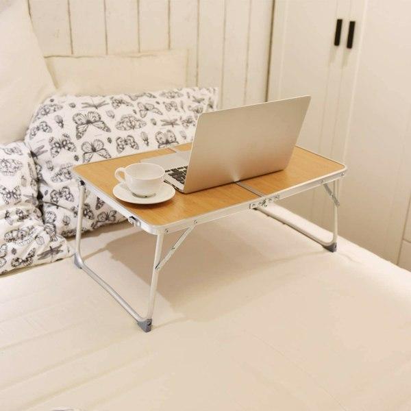 铝合金折叠早餐桌笔记本电脑桌支架床上桌户外餐桌竹色