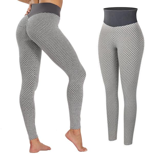 tiktok抖音女士紧身裤提臀运动锻炼高腰瑜伽裤浅灰XL码