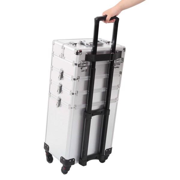 四合一化妆箱 平纹 带4个轮子 铝制边框 银色