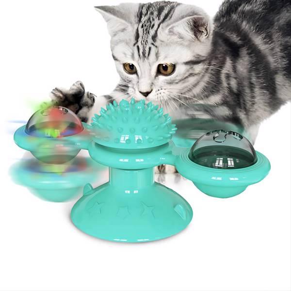 转转风车猫玩具-湖蓝色