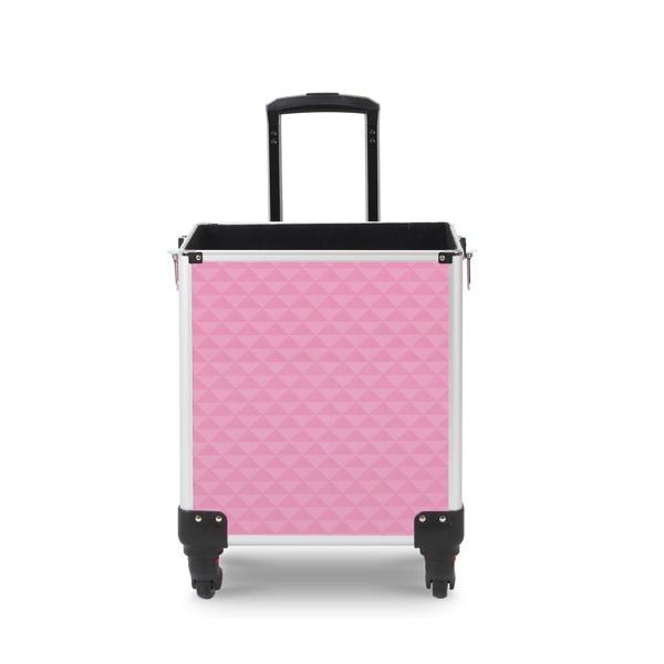 四合一化妆箱 菱形钻石纹路 带4个轮子 铝制边框 粉色
