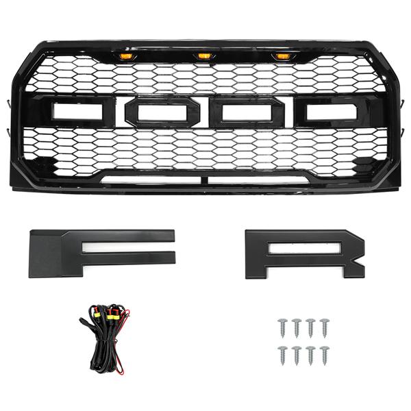 福特亮黑中网Front Upper Mesh Grille Glossy Black fits 2015-2017 F150 Raptor w/LED Lights & Letters
