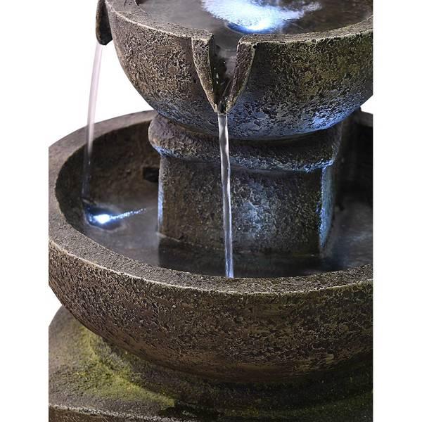 16英寸带 LED 灯的户外喷泉 - 现代弧形室内外瀑布喷泉 5 层级联盆禅喷泉,适用于户外空间或室内装饰(亚马逊禁售)