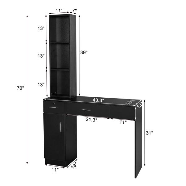 2-2 15厘E0刨花板麻面 1门2抽3层架带腿美发柜带锁 沙龙柜 N001 黑色