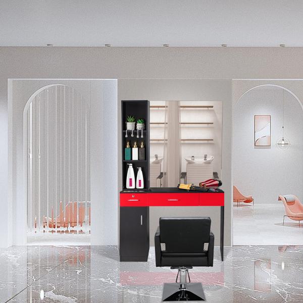 2-2 15厘E0刨花板麻面 1门2抽3层架带腿美发柜带锁带镜子 沙龙柜 N001 黑红色
