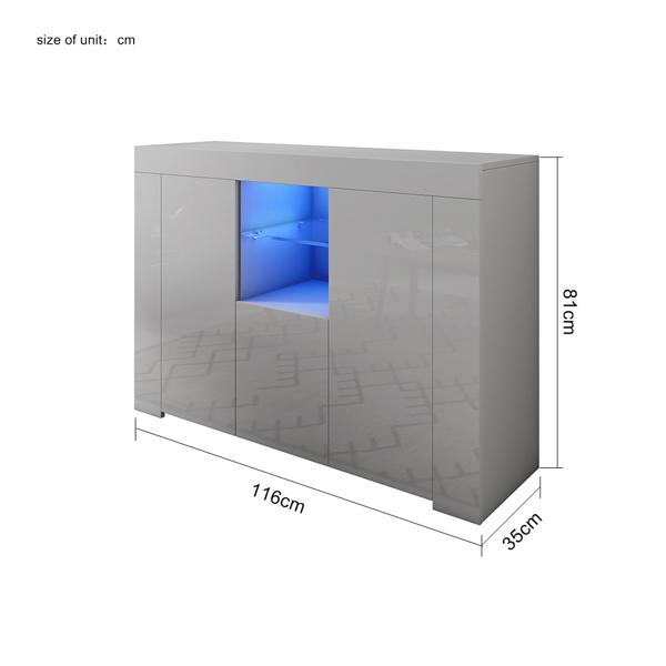 全灰色边柜带LED灯(RGB)三门