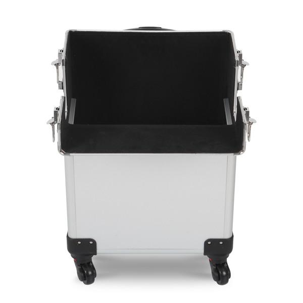 三合一化妆箱 平纹 带4个轮子 铝制边框 银色