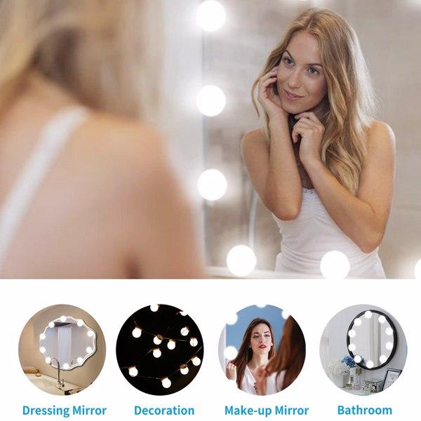 化妆镜灯泡三色调光-10灯USB插口
