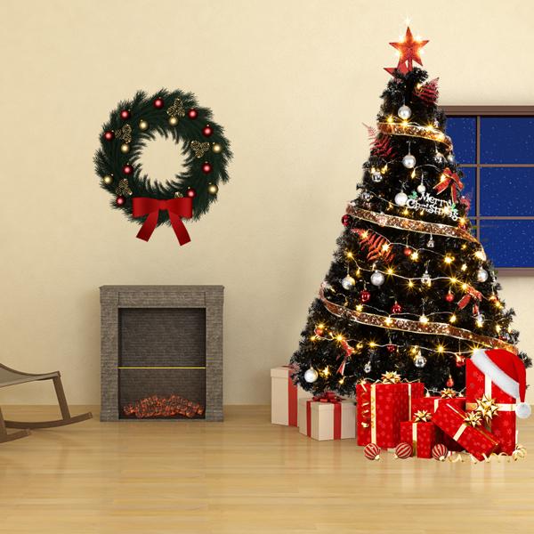 FCH 6ft 1600枝头 黑色 圣诞树 PVC树枝铁支架 N101 英国