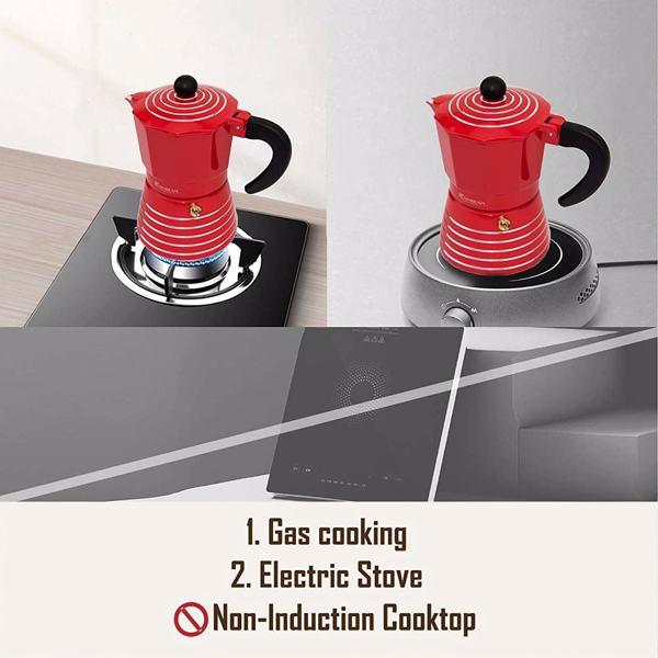 摩卡壶3杯黑色咖啡壶铝质意式咖啡机6 盎司红色