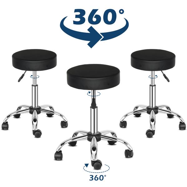 半PU皮 尼龙轮 300lbs 黑色 技师凳 圆凳电镀五星脚 N001