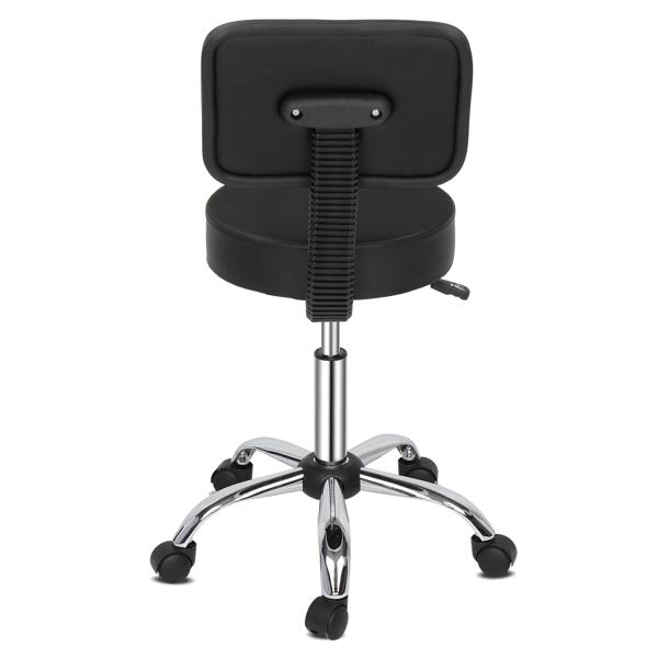 半PU皮 尼龙轮 300lbs 黑色 技师凳 带靠背圆凳电镀五星脚 N001