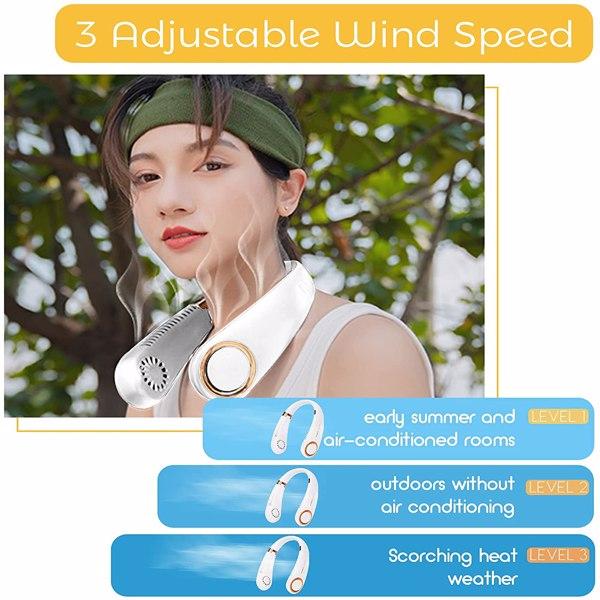 【沃尔玛禁售】挂脖扇白色 Portable Bladeless Neck Fan Foldable 3000 mAh Hands Free Personal Mini Fan, 3 Speeds Cooling Air Outlet Wearable Personal Fan USB Rechargeable for Traveling Sports Office White