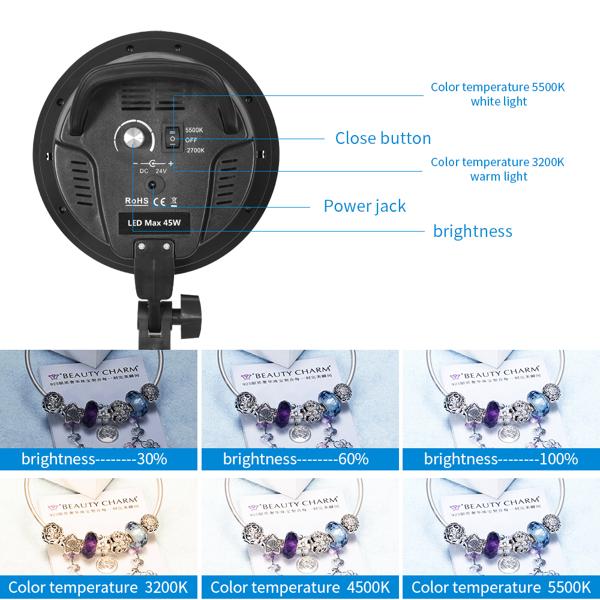 Kshioe 英规 PK006 长方形 带可调色温和亮度LED灯2柔光箱 摄影套装
