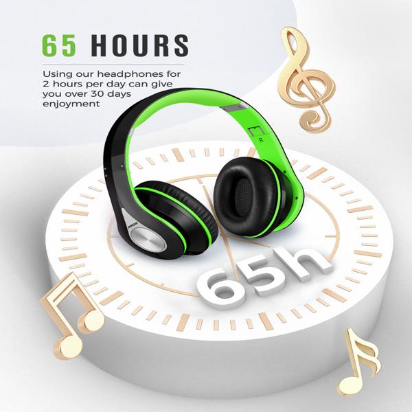 【亚马逊禁售】带降噪立体声的耳罩式蓝牙耳机、可折叠头带、符合人体工程学设计的软耳罩、内置麦克风、PC、笔记本电脑和智能手机的 65 小时播放时间(绿色)