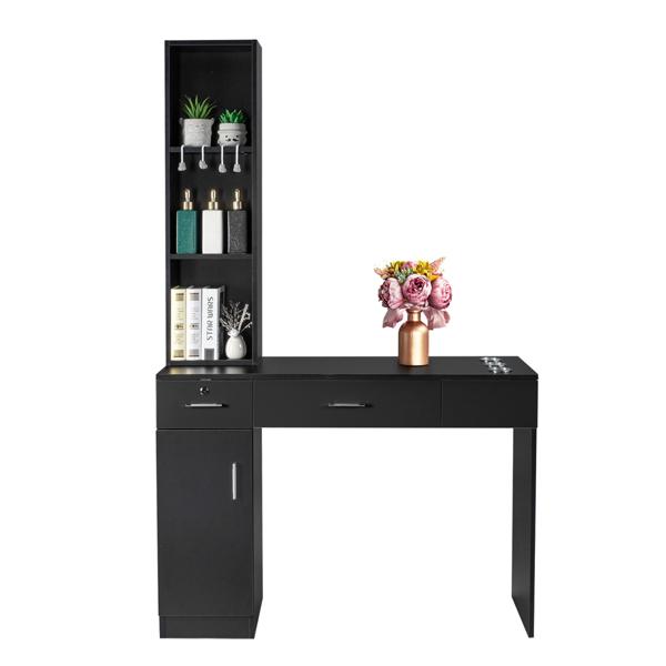 15厘E0刨花板麻面 1门2抽3层架带腿美发柜带锁 沙龙柜 N001 黑色