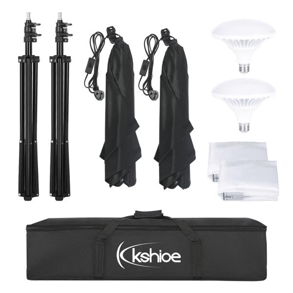 Kshioe 英规 PK005 45W 长方形 带5070柔光箱LED飞碟灯2灯 摄影套装