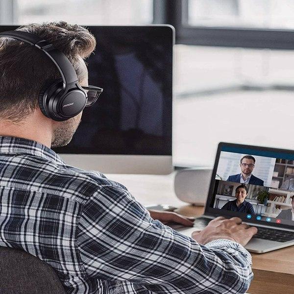 【亚马逊禁售】H7 蓝牙耳机、舒适的耳罩式无线耳机、HiFi 立体声耳机、无线有线模式、CVC6.0 儿童麦克风、成人、手机、在线课堂、家庭办公室、PC 黑色