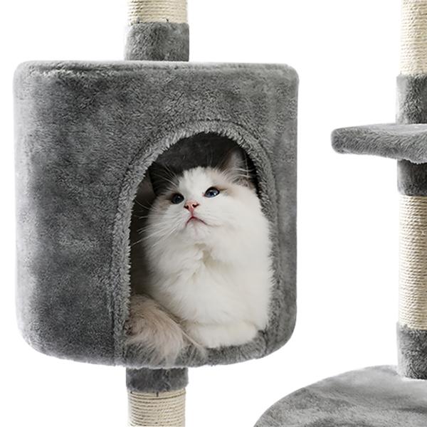 灰色多层猫台带有猫窝,毛绒躺窝,猫抓柱,吊球,适合中小型猫