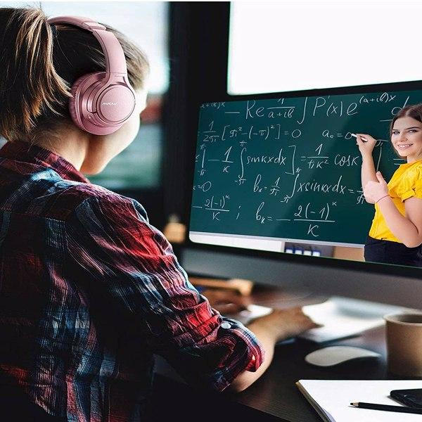 【亚马逊禁售】H7 蓝牙耳机、舒适的耳罩式无线耳机、HiFi 立体声耳机、无线有线模式、CVC6.0 儿童麦克风、成人、手机、在线课堂、家庭办公室、PC