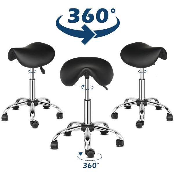 半PU皮 尼龙轮 300lbs 黑色 技师凳 马鞍凳电镀五星脚 N001