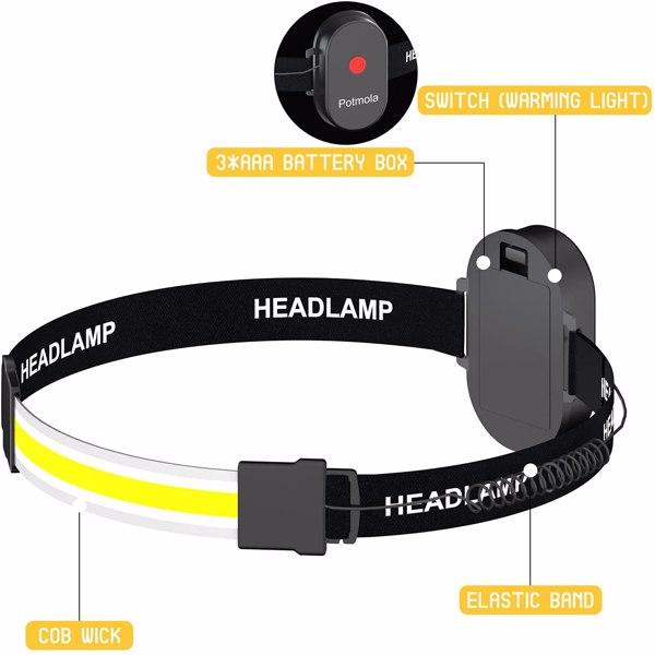 【沃尔玛禁售】2个装电池款头灯 2 Pack LED Headlamp Flashlight Battery Powered Wide Beam Bright Head Light Lightweight Head Lamp for Camping Running Hiking Hard Hat Headlight