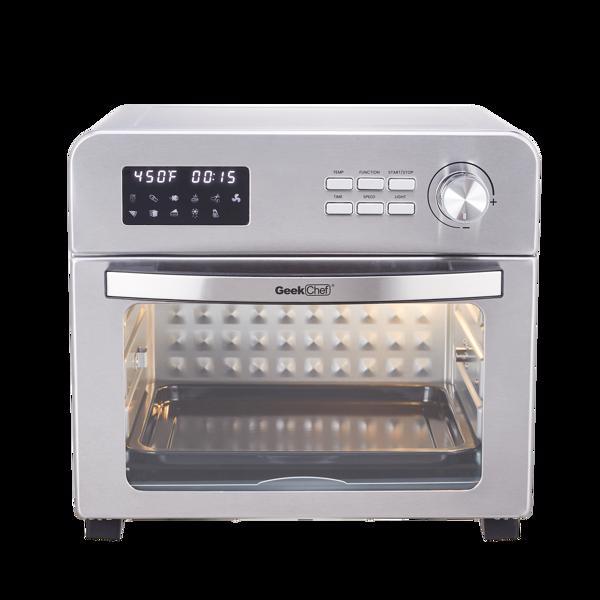 小家电空气炸锅烤面包机烤箱,24QTLCD台面对流式空压机烤箱,带烤盘和脱水器,包括6个烹饪配件和电子食谱。禁止亚马逊销售