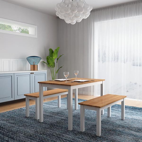 松木桌椅一桌二长凳原木色+白色