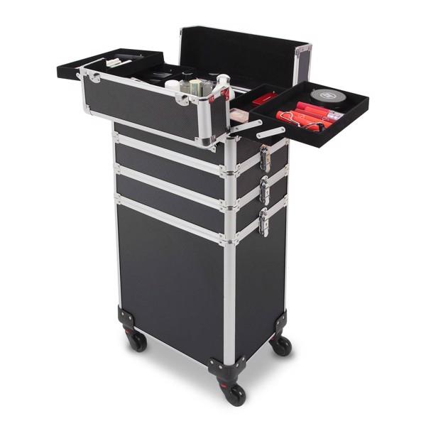 四合一化妆箱 平纹 带4个轮子 铝制边框 黑色