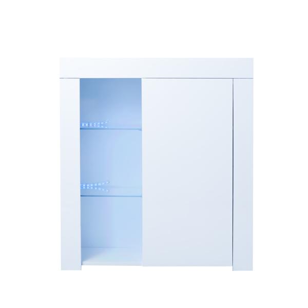 厨房餐具柜橱柜白色高光带蓝色 LED 灯,入口客厅侧边储物柜自助餐带货架和餐厅走廊门