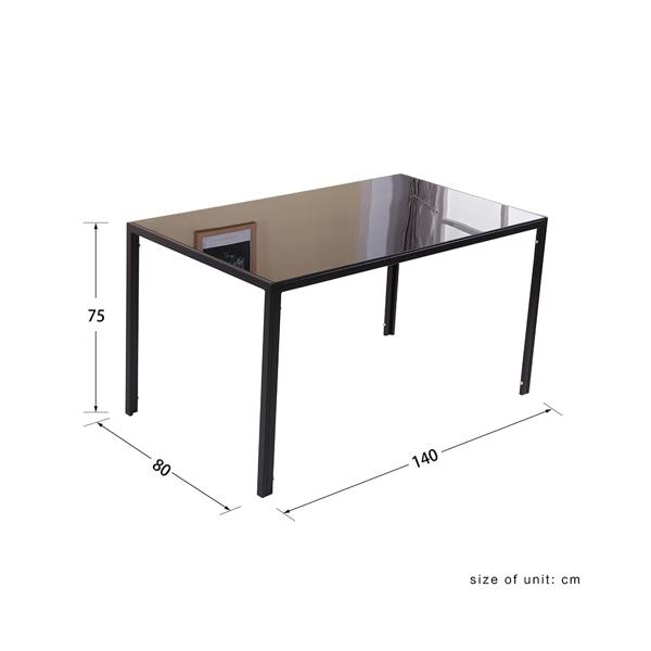 140CM玻璃餐桌+6张餐椅黑色