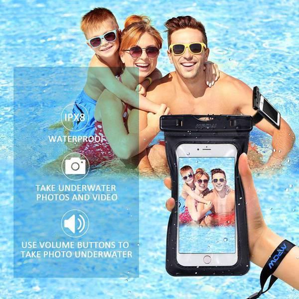 【亚马逊禁售】iPhone X/8/8 Plus/7/7 Plus/6S/6 Plus、三星等手机防水、防尘、防雪袋袋,带臂章,IPX8 通用手机干燥袋(2 件套)