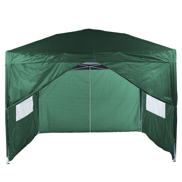 3x3M 弹出式速开凉棚 帐篷 210D 带防水涂层 带四块围布(两窗户+两门-双面拉锁)+ 收纳袋 绿色