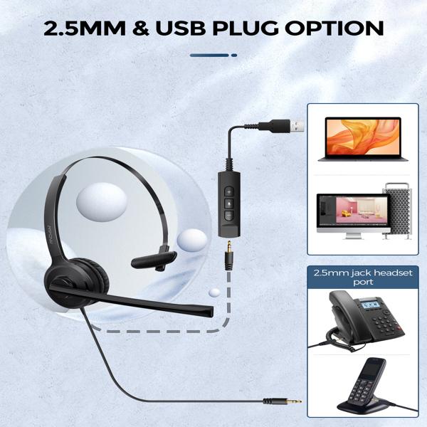 【亚马逊禁售】带降噪麦克风的 2.5 毫米电话耳机、带在线控制的单面 USB 家用耳机