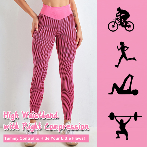 tiktok抖音女士紧身裤提臀高腰瑜伽运动裤粉色XL码