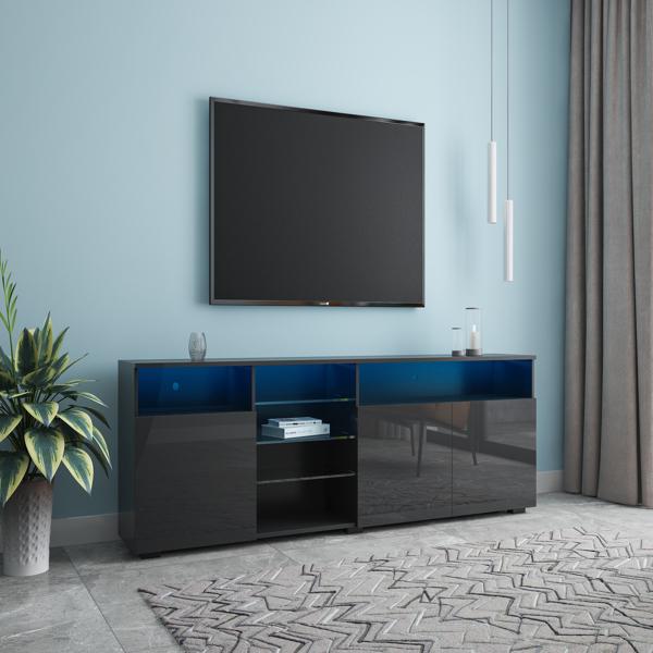 家具和电视架哑光机身高光门现代电视架 LED,黑色