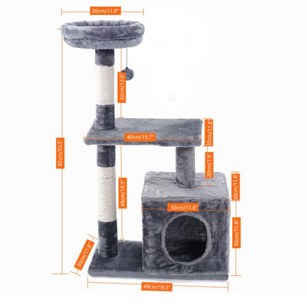 灰色3层猫台带有猫窝,猫抓柱,吊球,适合小猫休息玩耍