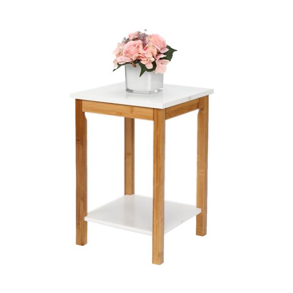 FCH 双层 楠竹 边几 长方形 白色桌面 原木色桌腿 34*34*50cm N101