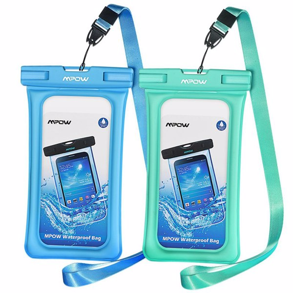 【亚马逊禁售】2 件装可漂浮防水壳、干袋手机袋,适用于 iPhone X/8/8 Plus/7/7 Plus、Google Pixel、LG、三星 Galaxy 等(蓝色和绿色)