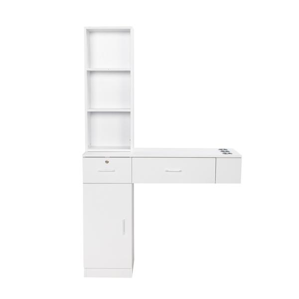 15厘E0刨花板麻面 倒T形2抽1门1锁3风筒带锁 沙龙柜 N001 白色