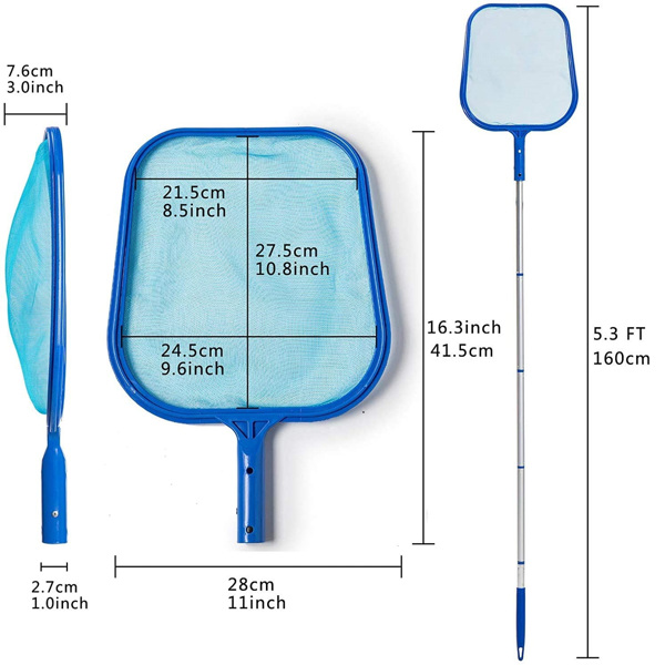 泳池清洁网 带 14-48 英寸伸缩杆 池叶耙筛网 框架撇渣器,用于清洁泳池配件(亚马逊/沃尔玛禁售)
